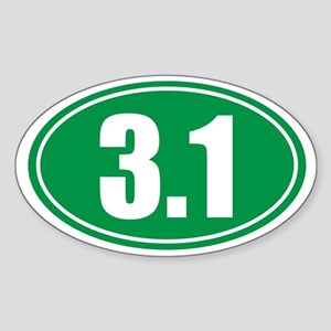 3.1 green oval Sticker (Oval)