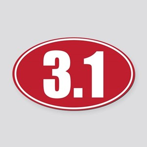 3.1 red oval Oval Car Magnet