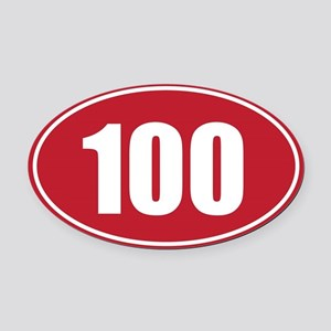 100 red oval Oval Car Magnet