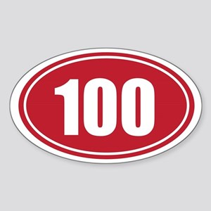 100 red oval Sticker (Oval)