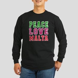 Peace Love Malta Long Sleeve Dark T-Shirt