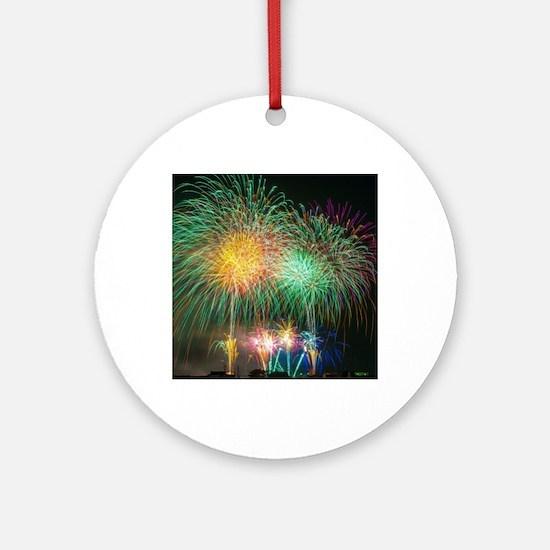 Firework003 Round Ornament