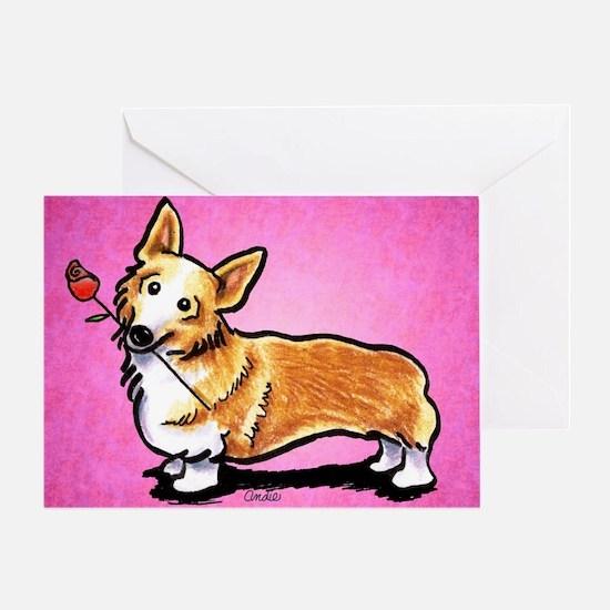 Corgi Rose Pink Greeting Cards