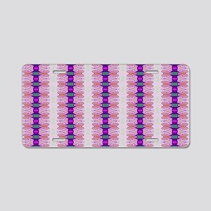 Pretty pink purple ribbon p Aluminum License Plate