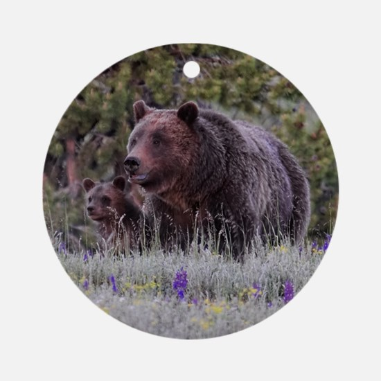 Grizzly Bear# 399 and her Triplets Ornament (Round