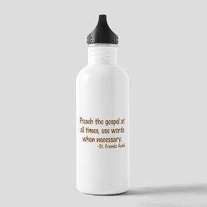 PreachTheGospelWordsBrownText1 Water Bottle