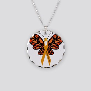 MS Heart Butterfly Necklace Circle Charm
