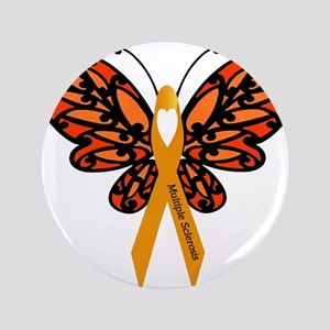 "MS Heart Butterfly 3.5"" Button"