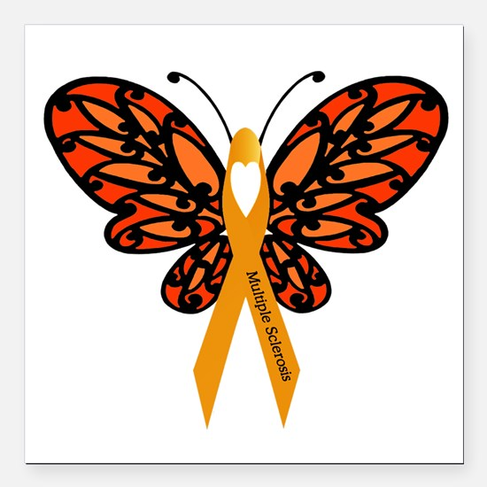 """MS Heart Butterfly Square Car Magnet 3"""" x 3"""""""