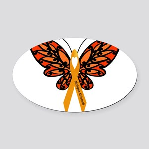 MS Heart Butterfly Oval Car Magnet
