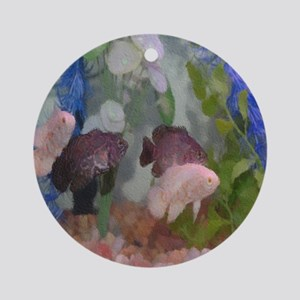 Four Oscars swimming in an aquarium Round Ornament