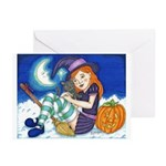 Kitten and Witch Greeting Cards