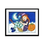Kitten and Witch Framed Panel Print