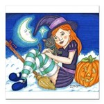 Kitten and Witch Square Car Magnet 3