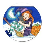 Kitten and Witch Round Car Magnet