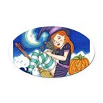 Kitten and Witch Oval Car Magnet