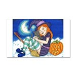 Kitten and Witch Car Magnet 20 x 12