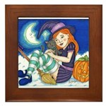 Kitten and Witch Framed Tile