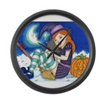 Kitten and Witch Large Wall Clock