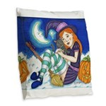 Kitten and Witch Burlap Throw Pillow