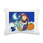 Kitten and Witch Rectangular Canvas Pillow