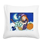 Kitten and Witch Square Canvas Pillow