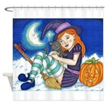 Kitten and Witch Shower Curtain