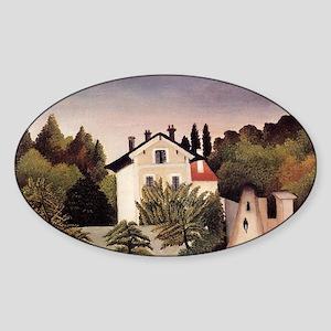 Rousseau - House on Outskirts of Pa Sticker (Oval)