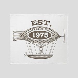 Vintage Birthday Est 1975 Throw Blanket