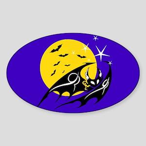 Bats Flying Sticker (Oval)