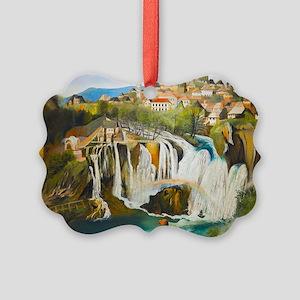 Waterfall at Jajce Picture Ornament