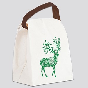 Snowflake Reindeer Silhouette - Green Canvas Lunch