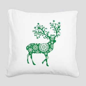 Snowflake Reindeer Silhouette - Green Square Canva