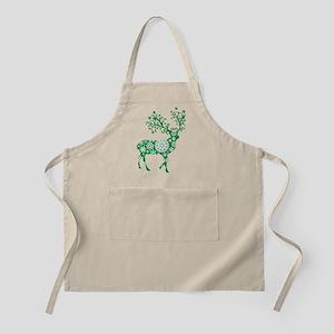Snowflake Reindeer Silhouette - Green Apron