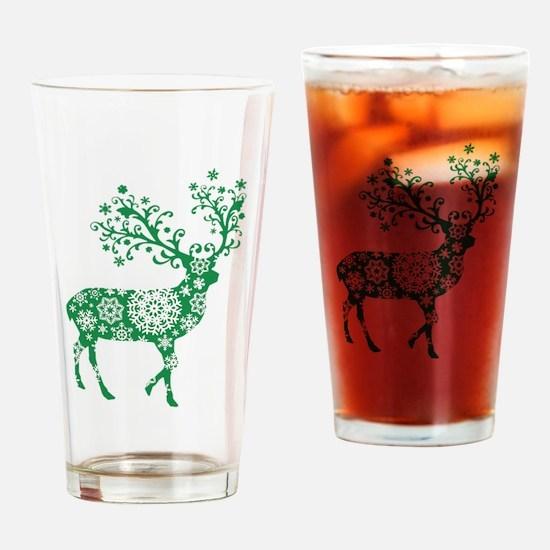 Snowflake Reindeer Silhouette - Green Drinking Gla