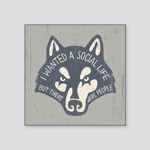 "Anti-Social Wolf Square Sticker 3"" x 3"""