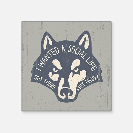 "Anti-Social Wolf Square Sticker 3"" x 3"""
