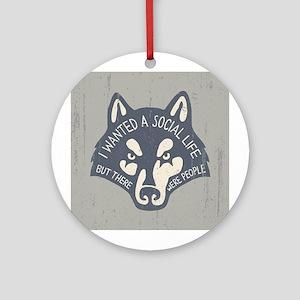 Anti-Social Wolf Ornament (Round)