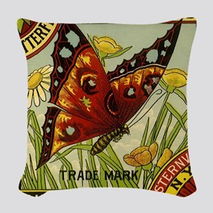 Vintage Fruit Crate Label  Woven Throw Pillow