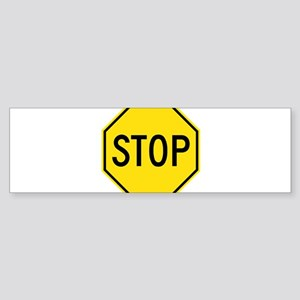 Yellow Stop Sign Bumper Sticker