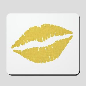 Yellow Linen Lips Mousepad