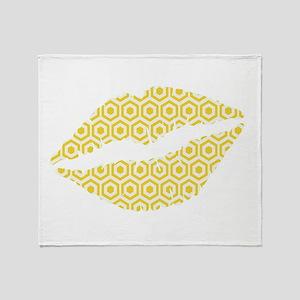 Yellow Hexagon Honeycomb Lips Throw Blanket