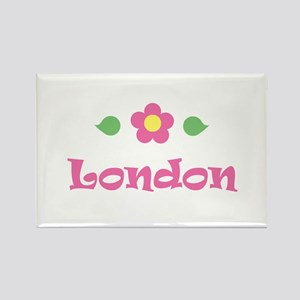 """Pink Daisy - """"London"""" Rectangle Magnet"""