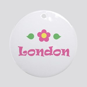 "Pink Daisy - ""London"" Ornament (Round)"