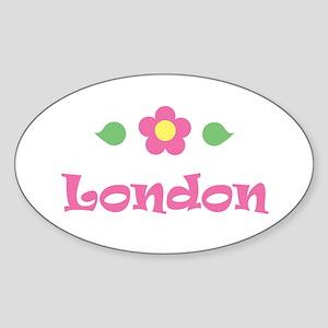 "Pink Daisy - ""London"" Oval Sticker"