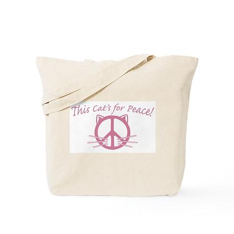 Pink Peace Cat Tote Bag