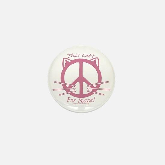 Pink Peace Cat Mini Button