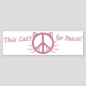 Pink Peace Cat Bumper Sticker