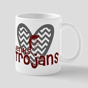 Jenks Trojans Chevron Heart Mugs