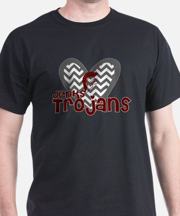 Jenks Trojans Chevron Heart T-Shirt
